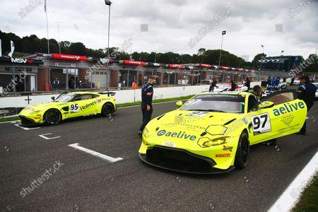 #95 Connor O'Brien / Patrick Kibble - TF Sport Aston Martin Vantage AMR GT4 #97 Jamie Caroline / Daniel Vaughan - TF Sport Aston Martin Vantage AMR GT4