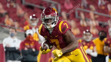 Southern California running back Stephen Carr (7) runs the ball during the second half of an NCAA college football game for the Pac-12 Conference championship against Oregon, in Los Angeles
