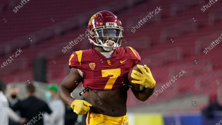 Southern California running back Stephen Carr (7) warms up before an NCAA college football game for the Pac-12 Conference championship against Oregon, in Los Angeles