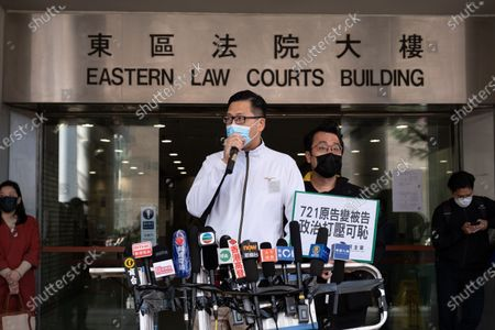 Stock Picture of Former pro-democracy lawmaker Lam Cheuk-ting speaks to the media outside the Eastern Magistrates' Court. Former opposition lawmaker Lam Cheuk-ting was arrested for allegedly disclosing the personal information of individuals being investigated by police in relation to the Yuen Long mob attacks last July. Officers from the Independent Commission against Corruption (ICAC) arrested the Democratic Party member at his home and brought him to North Point police station.