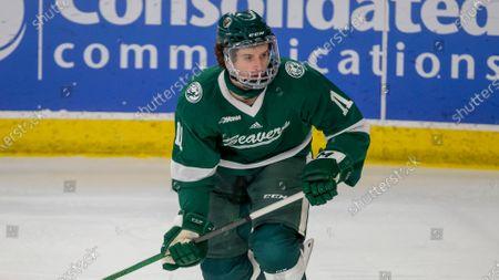Bemidji State forward Eric Martin (11) skates against Minnesota State during an NCAA hockey game, in Bemidji, Minn