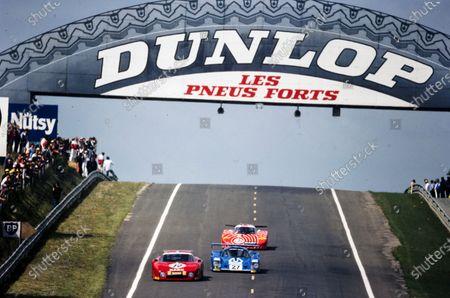 Alain Cudini / John Morton / John Paul, N.A.R.T., Ferrari 512 BB/LM, leads Mario Andretti / Michael Andretti, Grand Touring Cars Inc., Mirage M12 and Hans-Joachim Stuck / Jean-Louis Schlesser / Dieter Quester, BASF Cassetten Team GS Sport, Sauber SHS C6.