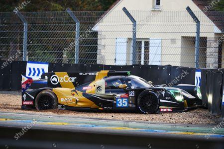 #35 Eurasia Motorsport Ligier JSP217 - Gibson: Nobuya Yamanaka, Nick Foster, Roberto Merhi, crash.