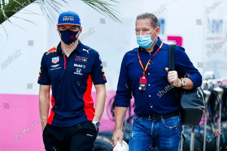 Stock Photo of Max Verstappen, Red Bull Racing and Jos Verstappen in the paddock