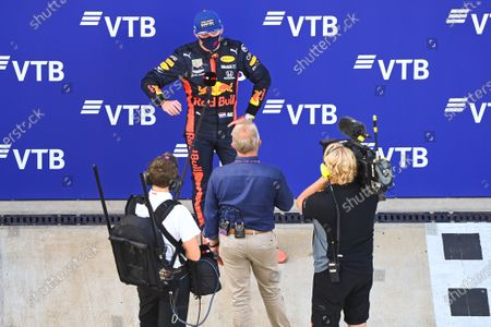 Max Verstappen, Red Bull Racing, 2nd position, is interviewed by Johnny Herbert, Sky TV, after the race
