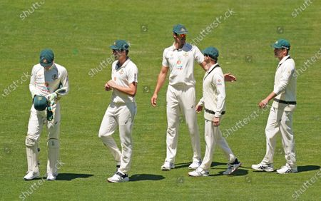 Tim Paine, Pat Cummins, Mitchell Starc, Steven Smith and Joe Burns of Australia leave the field after losing the match during day four of the second Test Match between Australia and India at The MCG, Melbourne, Australia, 29 December 2020.