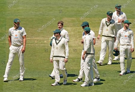 Joe Burns, Steven Smith,Travis Head, Matthew Wade and Tim Paine of Australia leave the field after losing the match during day four of the second Test Match between Australia and India at The MCG, Melbourne, Australia, 29 December 2020.