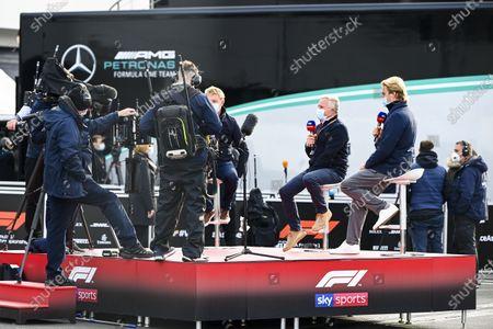 Simon Lazenby, Sky TV, Johnny Herbert, Sky TV and Nico Rosberg, Sky, TV in the paddock