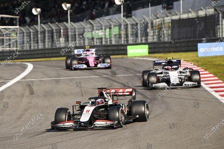 Romain Grosjean, Haas VF-20, Pierre Gasly, AlphaTauri AT01 and Nico Hulkenberg, Racing Point RP20