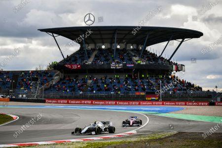 Nicholas Latifi, Williams FW43, leads Nico Hulkenberg, Racing Point RP20