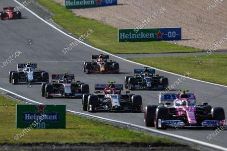 Nico Hulkenberg, Racing Point RP20, leads Antonio Giovinazzi, Alfa Romeo Racing C39, Kevin Magnussen, Haas VF-20, Lewis Hamilton, Mercedes F1 W11 EQ Performance, Max Verstappen, Red Bull Racing RB16, and Nicholas Latifi, Williams FW43