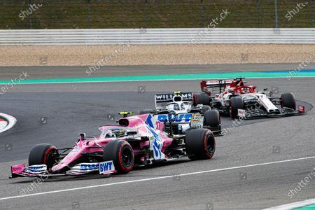 Stock Image of Nico Hulkenberg, Racing Point RP20, leads Nicholas Latifi, Williams FW43, and Kimi Raikkonen, Alfa Romeo Racing C39