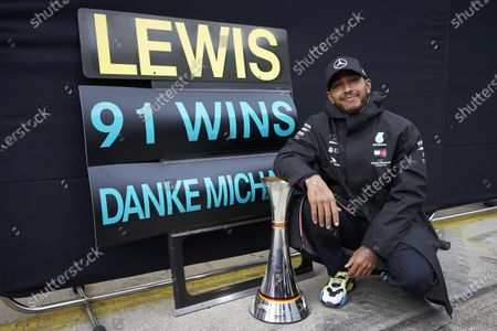 Lewis Hamilton, Mercedes-AMG Petronas F1, 1st position, celebrates after securing his 91st F1 race win, equalling the record of Michael Schumacher