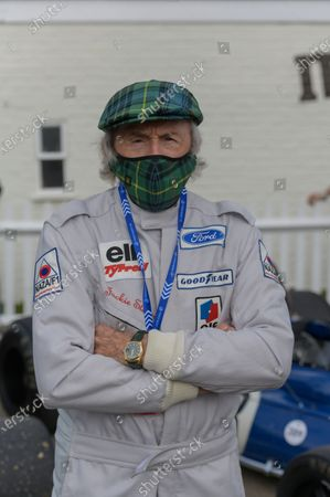 Sir Jackie Stewart wears a tartan face mask. Photo: Matt Sills/Goodwood