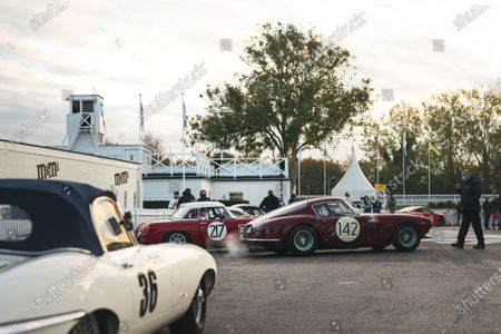 The Martin Halusa/Lukas Halusa Ferrari 250 GT SWB pulls out of the paddock ahead of the Stirling Moss Memorial Trophy. Also visible are the James Cottingham Jaguar E-type and Ed Foster/Nicholas Padmore MGB. Photo: Nick Dungan/Goodwood