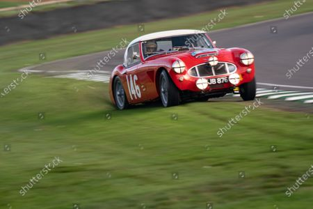 The Mechael Darcey/Richard Woolmer, Austin Healey 3000 Mk1, drives onto the grass during the Stirlng Moss Memorial Trophy. Photo: Nick Dungan/Goodwood