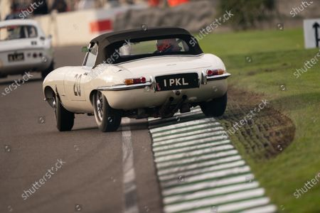 Gary Pearson/Alex Brundle, Jaguar E-type gets sideways in race seven, the Stirling Moss Memorial Trophy. Photo: Nick Dungan/Goodwood