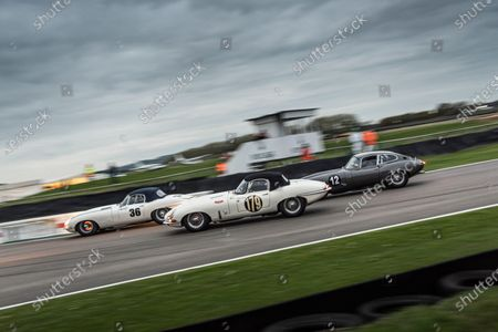 James Cottingham leads fellow Jaguar E-type drivers David Gooding/Nigel Greensall and Rob Huff/Richard Meins in race seven, the Stirling Moss Memorial Trophy
