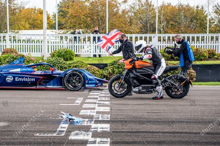 Karun Chandhok, Envision Virgin Racing Gen-2 ABB Formua E car, races drone pilot Luke Bannister and the all-electric Harley Davidson LiveWire. Photo: Jayson Fong/Goodwood