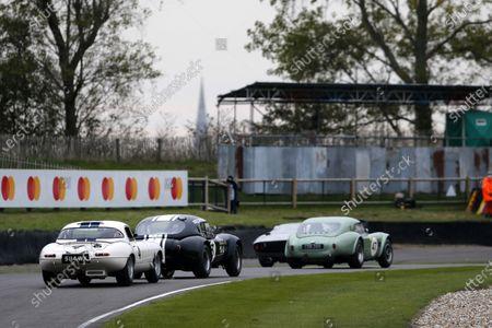 Alex Brundle / Gary Pearson, Jaguar E-type Lightweight, follows Anthony Reid / John Young, AC Cobra and Bill Shepherd / Nick Padmore, AC Cobra during the RAC TT Celebration race.