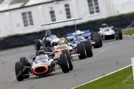Sir Jackie Stewart demonstrates a BRM P261.