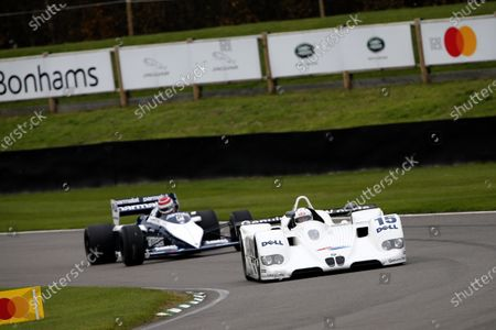 Stock Picture of Johnny Cecotto demonstrates the 1999 Team BMW Motorsport, BMW V12 LMR as Pedro Piquet drives a Brabham BT52 BMW close behind.