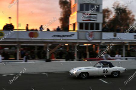 James Cottingham, Jaguar E-type, wins the Stirling Moss Memorial Trophy race.
