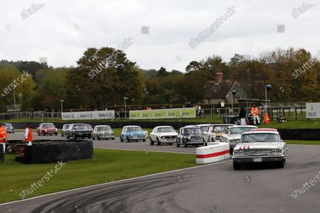Stig Blomqvist leads the St. Mary's Trophy race in his Ford Galaxie 500.