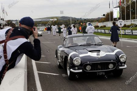 Ross Brawn demonstrates The Ferrari 250 GT SWB that Sir Stirling Moss drove and won in the 1960 RAC TT race at Goodwood.