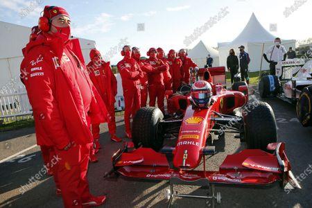 The Ferrari team prepare a Ferrari F60 for Marc Gene.