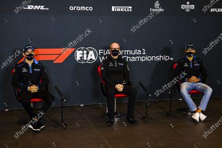 Nicholas Latifi, Williams Racing, Simon Roberts, Acting Team Principal, Williams Racing, and George Russell, Williams Racing, in a Press Conference