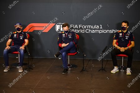 Max Verstappen, Red Bull Racing, Christian Horner, Team Principal, Red Bull Racing, and Alexander Albon, Red Bull Racing, in a Press Conference