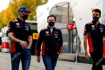 Max Verstappen, Red Bull Racing, Christian Horner, Team Principal, Red Bull Racing, and Alexander Albon, Red Bull Racing