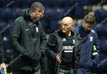 Preston North End manager Alex Neill walks toward the tunnel after the final whistle; Deepdale Stadium, Preston, Lancashire, England; English Football League Championship Football, Preston North End versus Coventry City.