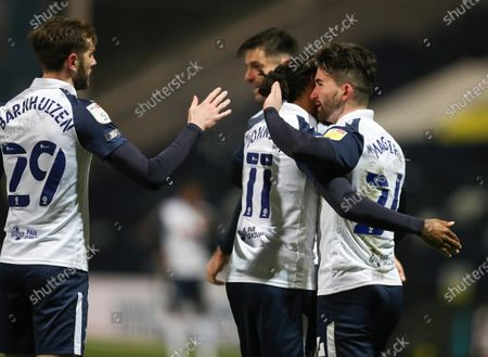 Sean Maguire of Preston North End celebrates with team mates Daniel Johnson and Tom Barkhuizen after scoring his team's second goal on 52 minutes; Deepdale Stadium, Preston, Lancashire, England; English Football League Championship Football, Preston North End versus Coventry City.