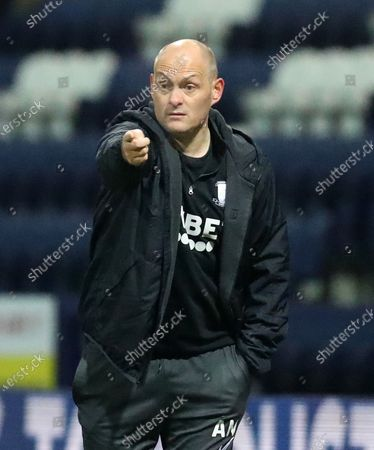 Preston North End manager Alex Neill gives instructions to his players; Deepdale Stadium, Preston, Lancashire, England; English Football League Championship Football, Preston North End versus Coventry City.