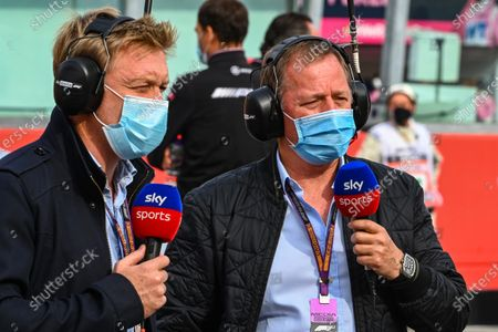 Stock Photo of Simon Lazenby, Sky TV, and Martin Brundle, Sky TV, on the grid