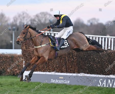 Seeyouatmidnight (Ryan Mania) takes the last before going on to win The Unibet Veterans Handicap Steeple Chase. Photo © Hugh Routledge.