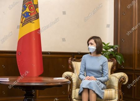 Moldova's President Maia Sandu during a meeting with Romania's President Iohannis at at the Presidential Palace in Chisinau, Moldova, 29 December 2020. President Iohannis is in Chisinau at the invitation of President Sandu. He is the first high-level visit to Chisinau after the investiture of Maia Sandu as President.