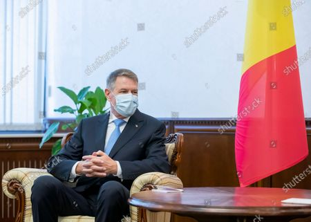 Romania's President Klaus Iohannis during a meeting with Moldova's President Sandu at the Presidential Palace in Chisinau, Moldova, 29 December 2020. President Iohannis is in Chisinau at the invitation of President Sandu. He is the first high-level visit to Chisinau after the investiture of Maia Sandu as President.