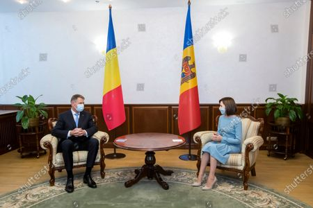 Romania's President Klaus Iohannis (L) and Moldova's President Maia Sandu (R) during their meeting at the Presidential Palace in Chisinau, Moldova, 29 December 2020. President Iohannis is in Chisinau at the invitation of President Sandu. He is the first high-level visit to Chisinau after the investiture of Maia Sandu as President.