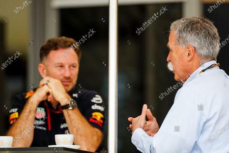 Chase Carey, Chairman, Formula 1 and Christian Horner, Team Principal, Red Bull Racing