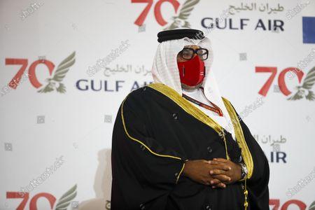 Sheikh Abdullah bin Hamad bin Isa Al Khalifa on the podium