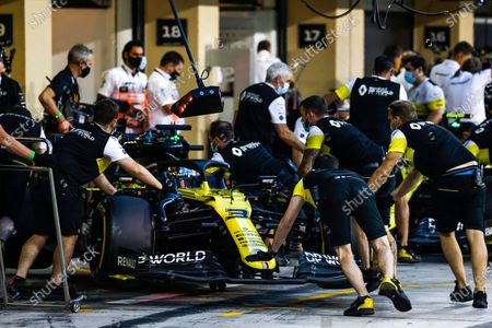 Stock Image of Daniel Ricciardo, Renault R.S.20, is returned to the garage