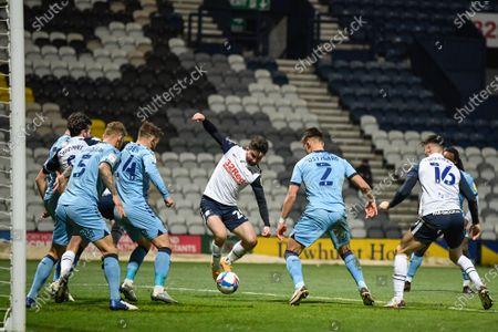 Sean Maguire #24 of Preston North End scores a goal to make it 2-0