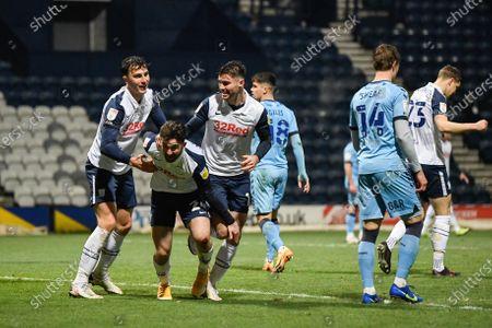 Sean Maguire #24 of Preston North End celebrates scoring a goal to make it 2-0