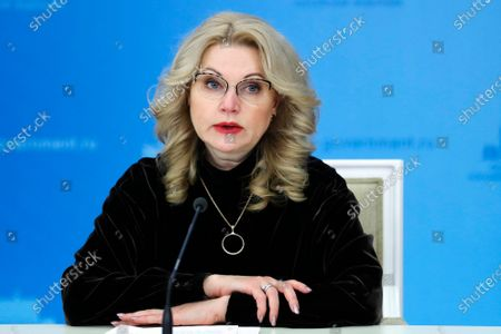 Taken, Russian Deputy Prime Minister Tatyana Golikova speaks to the media in Moscow, Russia. Deputy Prime Minister Tatyana Golikova told a government meeting Monday Dec. 28, 2020, that the increase reported by Rosstat for the most part is related to the coronavirus. Golikova's comment suggests that some 186,000 deaths may be linked to the coronavirus