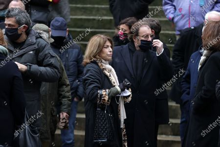 Jean Benguigui, Nicole Calfan, Daniel Russo attend during the mass in homage to Claude Brasseur at Church of Saint Roch