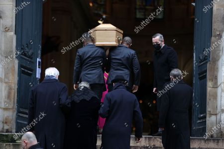 Alexandre Brasseur, Michele Cambon-Brasseur and family attend during the mass in homage to Claude Brasseur at Church of Saint Roch