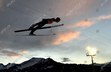 David Siegel of Germany is airborne during the first stage of the 69th Four Hills Tournament in Oberstdorf, Germany, 29 December 2020.